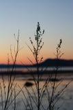 Coucher du soleil froid au printemps par Trondheimsfjorden Image stock