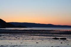 Coucher du soleil froid de ressort en Norvège Photos libres de droits