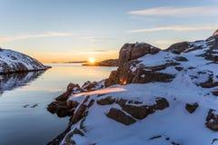 Coucher du soleil gelé Image stock