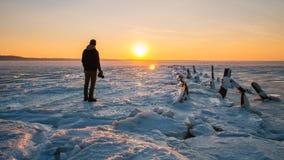 Coucher du soleil gelé, Sandy Hook, NJ photo libre de droits