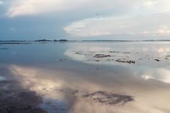 Coucher du soleil gentil sur le lac, du sud de la Thaïlande Photos stock