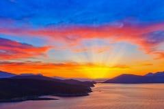 Coucher du soleil grec Photographie stock