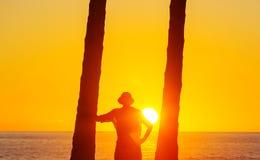 Coucher du soleil hawaïen Photo stock