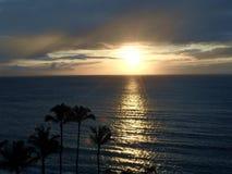 Coucher du soleil hawaïen avec la réflexion et les palmiers images libres de droits