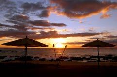 Coucher du soleil hawaïen de Molokai Image libre de droits