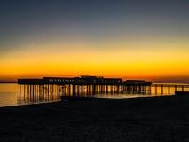 Coucher du soleil Helsingborg de bord de la mer Photo libre de droits