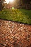 Coucher du soleil herbeux Image libre de droits
