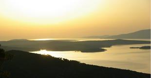 coucher du soleil hvar Photo libre de droits