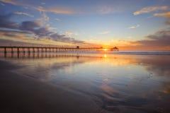 Coucher du soleil impérial de plage Images libres de droits