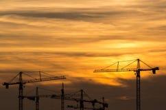 Coucher du soleil industriel Photos libres de droits