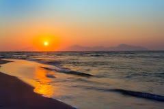 Coucher du soleil, Kos, Grèce Photo stock