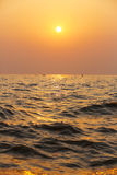 Coucher du soleil la rivière Yellow en Chine Photos libres de droits