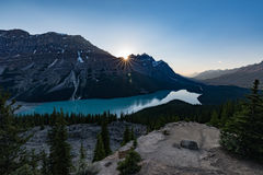 Coucher du soleil - Lapke Peyto photo stock