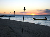 Coucher du soleil, île de Malolo, Fiji Photographie stock libre de droits