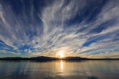 Coucher du soleil, le lac Tahoe Photos libres de droits