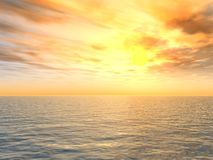 Coucher du soleil lumineux au-dessus de mer Image libre de droits