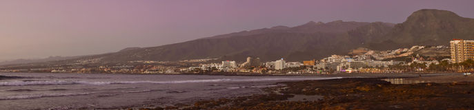 Coucher du soleil lumineux sur la côte, Ténérife, Îles Canaries, Espagne Images libres de droits