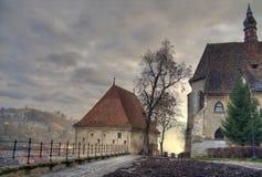 Coucher du soleil médiéval Image stock