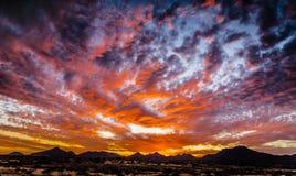 Coucher du soleil magique - désert de l'Arizona Images stock