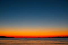Coucher du soleil magique en Croatie - île de Brac Photographie stock libre de droits