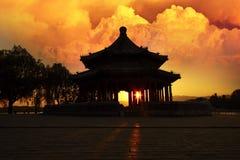 Coucher du soleil magique, le palais d'été, Pékin, Chine photos stock