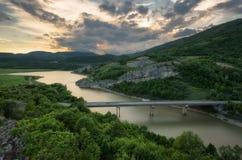 coucher du soleil magnifique de source Vue panoramique des roches merveilleuses Bulgarie de phénomène de roche photographie stock libre de droits