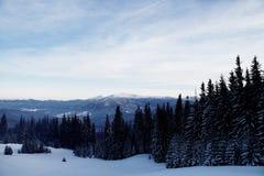 Coucher du soleil majestueux dans l'horizontal de montagnes Ciel excessif Carpathien, Ukraine, l'Europe Images libres de droits