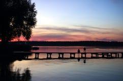 coucher du soleil majestueux en nature Images libres de droits