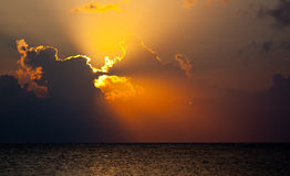 Coucher du soleil maya Images stock
