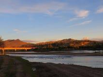 Coucher du soleil mongol Photo stock