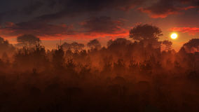 Coucher du soleil mystérieux de paysage illustration libre de droits