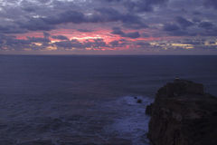 Coucher du soleil Nazare Portugal Image stock