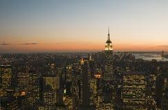 coucher du soleil neuf York de ville Images libres de droits