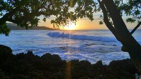 Coucher du soleil du nord d'Hawaï de rivage Image libre de droits