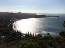 Coucher du soleil nuageux au port Stephens NSW Images libres de droits