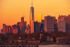 Coucher du soleil NYC de Manhattan Photographie stock libre de droits