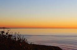 Coucher du soleil, océan, San Diego, Torrey Pines State Park Images stock