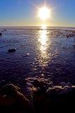 Coucher du soleil, océan, San Diego, Torrey Pines State Park Image libre de droits