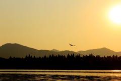 Coucher du soleil occidental de lac de XIHU Photographie stock