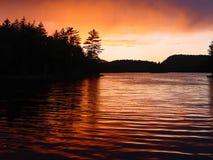 Coucher du soleil orageux Photographie stock