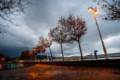 Coucher du soleil orageux Samil - à Vigo image stock