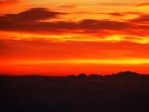Coucher du soleil orange Photographie stock