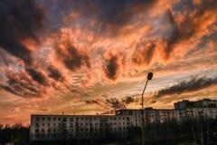 Coucher du soleil, orange, ciel, nuages Photos stock