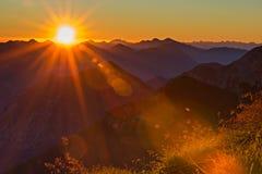 Coucher du soleil orange rouge avec des rayons de soleil à l'herbe Photos libres de droits