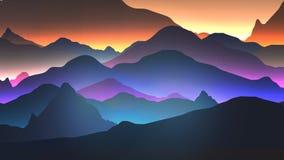 Coucher du soleil ou Dawn Over le paysage de montagnes - vecteur Illustratio Image stock