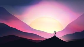 Coucher du soleil ou Dawn Over Mountains avec l'homme regardant fixement dans la distance Photo stock