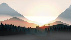 Coucher du soleil ou Dawn Over Mountains avec le mâle sur la forêt de pin de dessus de colline Images stock