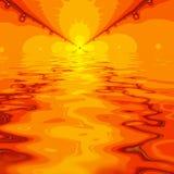 Coucher du soleil ou lever de soleil abstrait de fractale au-dessus de l'eau Photo stock