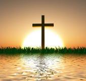 Coucher du soleil ou lever de soleil avec la croix Photos stock