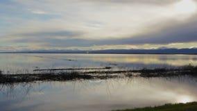 Coucher du soleil paisible inondé et nuages de lac banque de vidéos